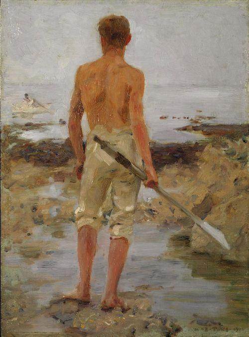 A boy with an oar | Henry Scott Tuke | oil painting