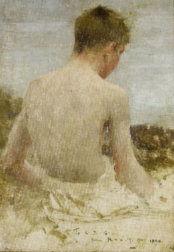 Back of a boy bather | Henry Scott Tuke | oil painting