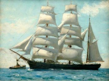 Barque in Full Sail Dropping Her Tug | Henry Scott Tuke | oil painting
