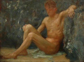 Bather Seated | Henry Scott Tuke | oil painting
