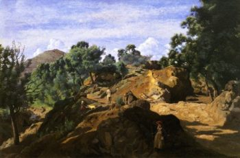A Chestnut Wood among the Rocks | Jean Baptiste Camille Corot | oil painting