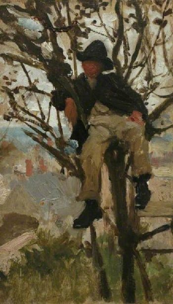 Boy in Tree | Henry Scott Tuke | oil painting