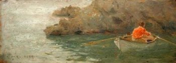 Boy Rowing out from Rocky Shore | Henry Scott Tuke | oil painting