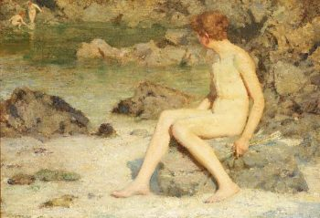 Cupid and Sea Nymphs | Henry Scott Tuke | oil painting