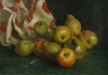 Dish of Fruit with Cloth | Henry Scott Tuke | oil painting