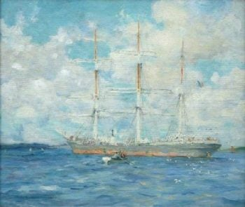 French Barque in Falmouth Bay | Henry Scott Tuke | oil painting