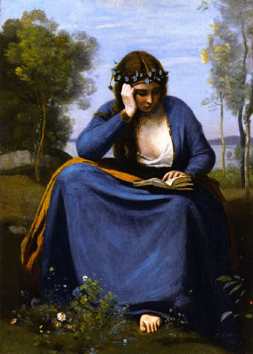 Woman Crowned with Flowers Reading | Jean Baptiste Camille Corot | oil painting