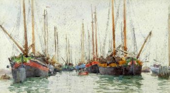 Gaily coloured fishing vessels at anchor | Henry Scott Tuke | oil painting