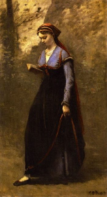 Woman in Velvet Skirt Reading | Jean Baptiste Camille Corot | oil painting