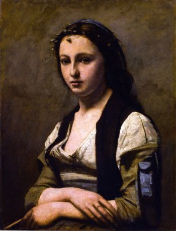 Woman with a Pearl | Jean Baptiste Camille Corot | oil painting
