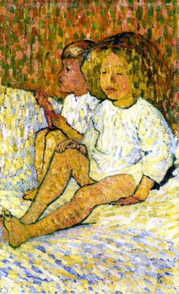 Children in Bed | Giovanni Giacometti | oil painting