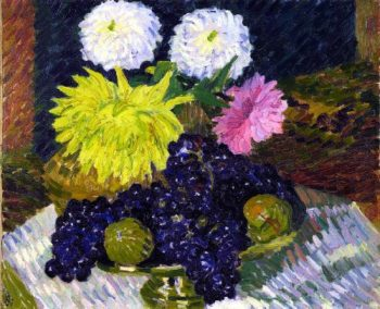 Dahlias and Grapes | Giovanni Giacometti | oil painting