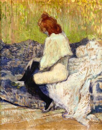 Red Headed Woman Sitting on the Couch | Henri de Toulouse Lautrec | oil painting