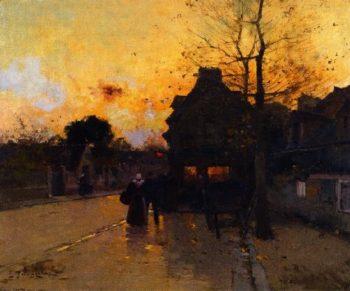 Village an Autumn Evening | Eugene Galien Laloue | oil painting