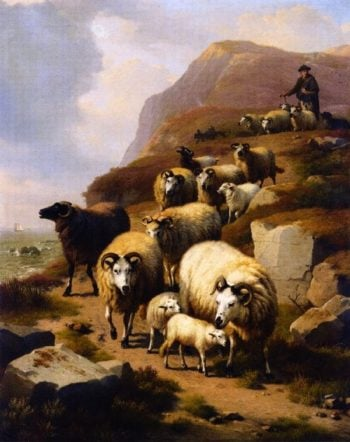 A Shepherd and His Flock | Eugene Verboeckhoven | oil painting