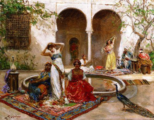 Dancing in the Harem Courtyard   Fabio Fabbi   oil painting
