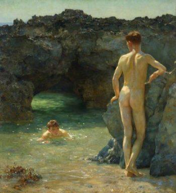 The Green Waterways | Henry Scott Tuke | oil painting