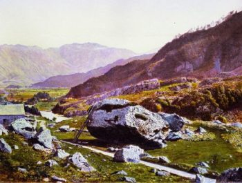 The Bowder Stone Borrowdale | John Atkinson Grimshaw | oil painting