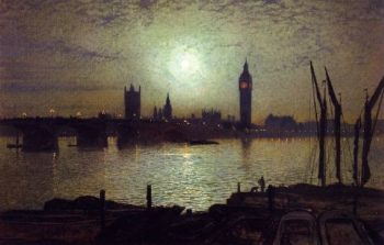 Westminster Bridge by Moonlight | John Atkinson Grimshaw | oil painting