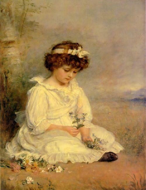 Little Speedwells Darling Blue   Sir John Everett Millais   oil painting