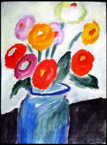 Dahlias in a Glass Jar | Alexei Jawlensky | oil painting