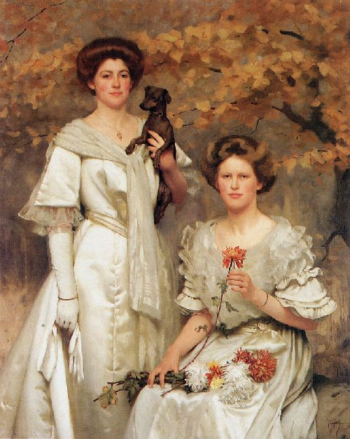 Hilda and Margaret daughters of Professor sir Edward Poulton | Thomas Cooper Gotch | oil painting