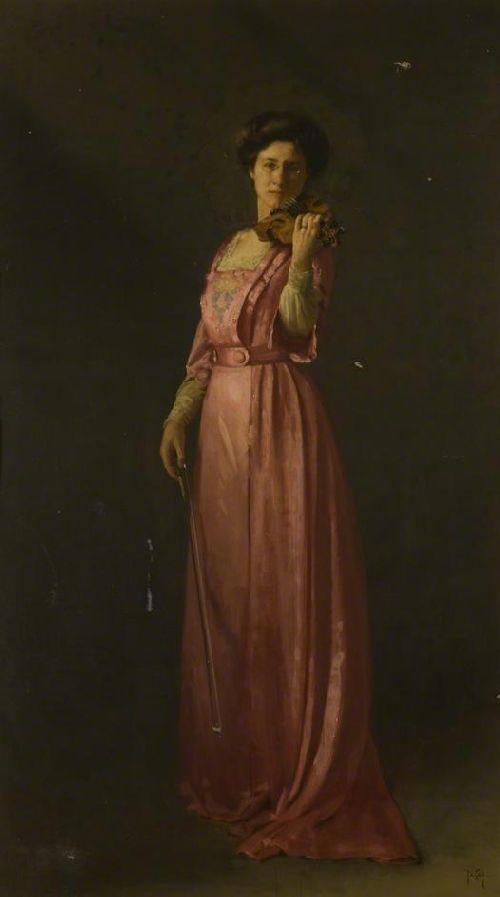 Mrs Fielden Violinist   Thomas Cooper Gotch   oil painting