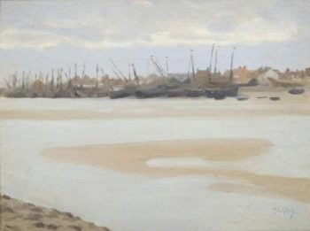 The Estuary at Etaples | Thomas Cooper Gotch | oil painting