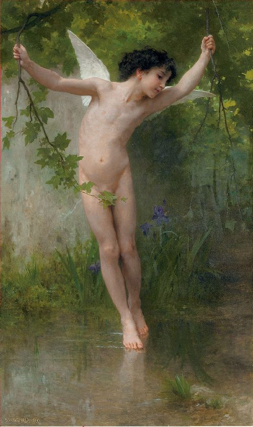 Cupid Flying over Water | William Bouguereau | oil painting