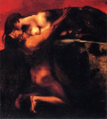 The Kiss of the Sphinx | Franz von Stuck | oil painting