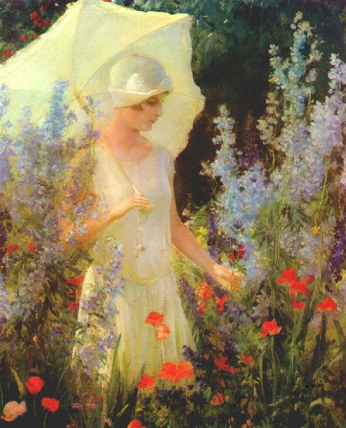 Blue Delphiniums | Charles Courtney Curran | oil painting