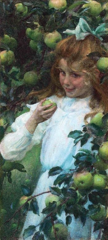 Green Apples | Charles Courtney Curran | oil painting
