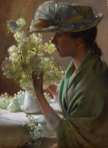 Lady with a Bouquet | Charles Courtney Curran | oil painting