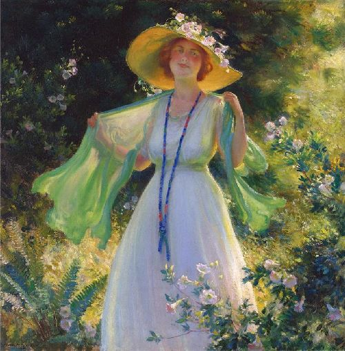 Path of Flowers | Charles Courtney Curran | oil painting