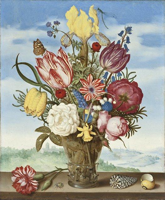 Bouquet Of Flowers on a Ledge   Ambrosius Bosschaert   oil painting