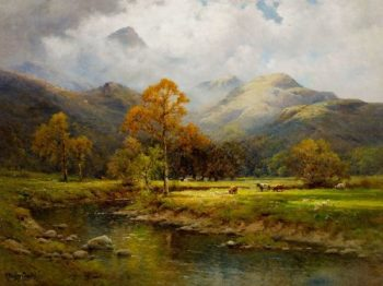 The English Lakes Autumn in Easedale | Alfred de Breanski | oil painting