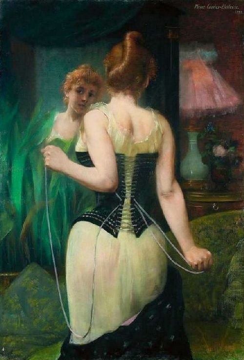 Young woman adjusting her corset before mirror | Pierre Carrier Belleuse | oil painting
