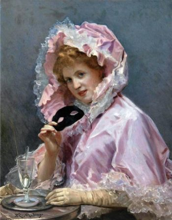 Young Lady with a Mask and Glass of Absinthe | Raimundo de Madrazo y Garreta | oil painting