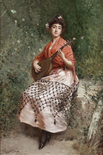 The Beautiful Bandurria Player | Raimundo de Madrazo y Garreta | oil painting