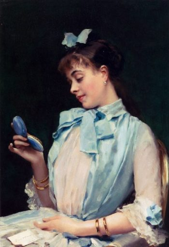 Portrait Of Aline Mason In Blue | Raimundo de Madrazo y Garreta | oil painting