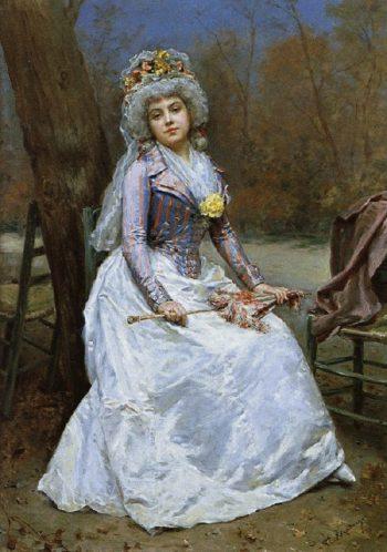 Portrait of a lady with parasol | Raimundo de Madrazo y Garreta | oil painting