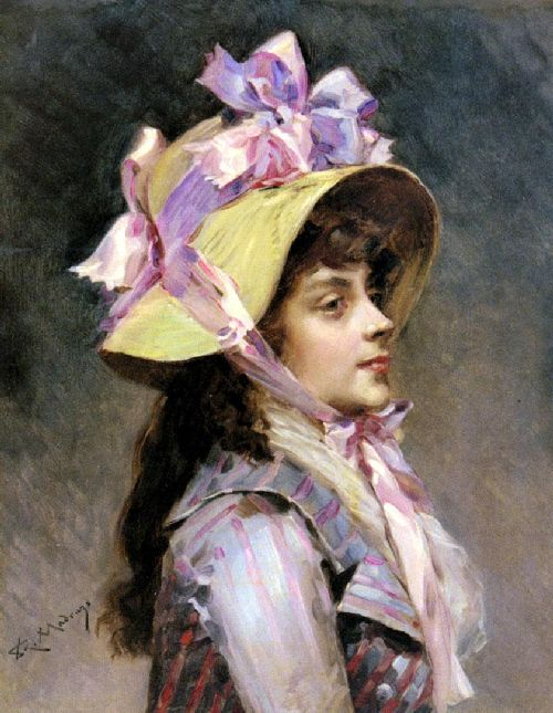 Portrait Of A Lady In Pink Ribbons | Raimundo de Madrazo y Garreta | oil painting