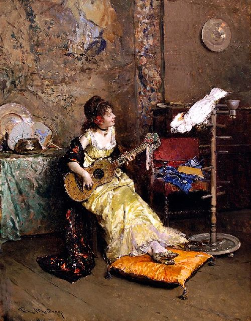 Girl With A Guitar and Parrot | Raimundo de Madrazo y Garreta | oil painting