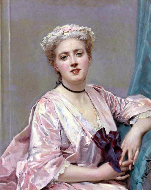 Beauty in pink | Raimundo de Madrazo y Garreta | oil painting