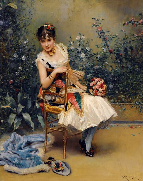 Aline with Flowers | Raimundo de Madrazo y Garreta | oil painting