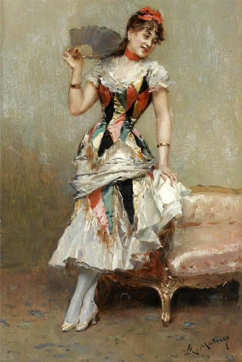 Aline With A Fan | Raimundo de Madrazo y Garreta | oil painting