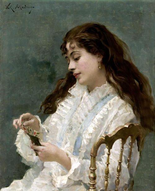 Aline playing cards | Raimundo de Madrazo y Garreta | oil painting