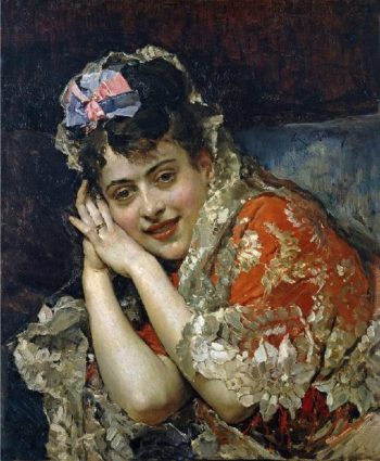 Aline Masson with a White Mantilla | Raimundo de Madrazo y Garreta | oil painting