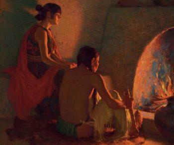Fireside | Joseph Henry Sharp | oil painting