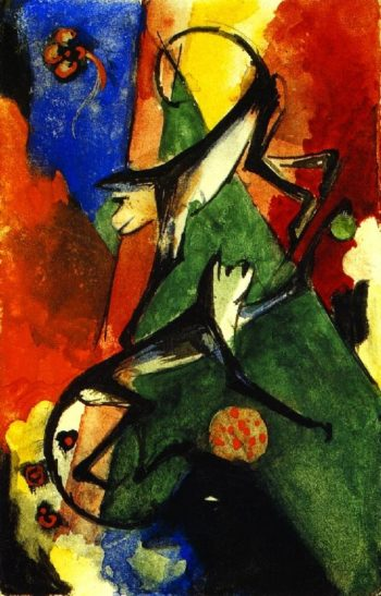 Two Monkeys | Franz Marc | oil painting